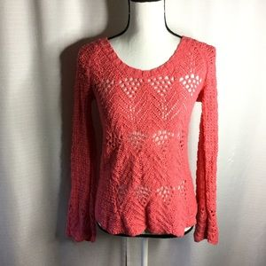 LUCKY BRAND Coral Knit Sweater Bell Sleeves  Sz XS